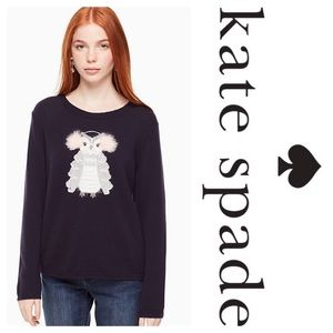 Kate Spade Owl Sweater In Navy Wool - Size M